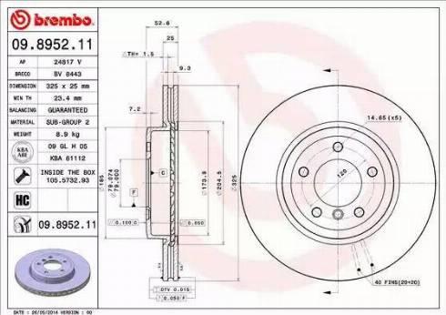 Brembo 09.8952.11 - Bremžu diski interparts.lv