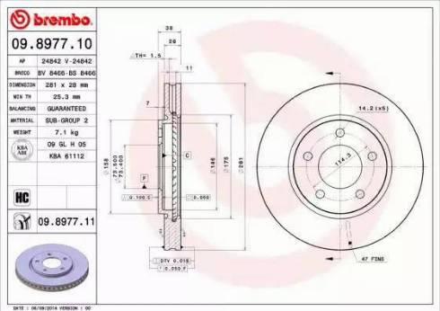 Brembo 09.8977.11 - Bremžu diski interparts.lv