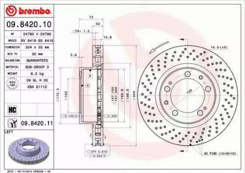 Brembo 09.8420.11 - Bremžu diski interparts.lv