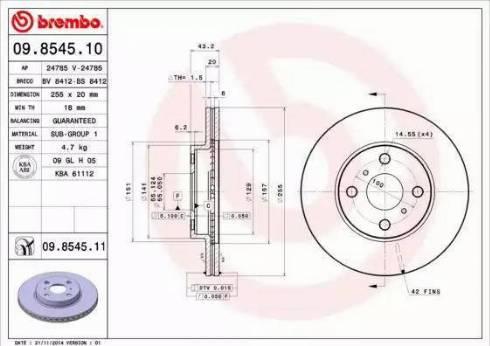Brembo 09.8545.11 - Bremžu diski interparts.lv