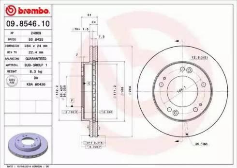 Brembo 09.8546.10 - Bremžu diski interparts.lv