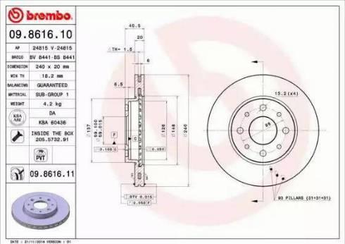 Brembo 09.8616.11 - Bremžu diski interparts.lv