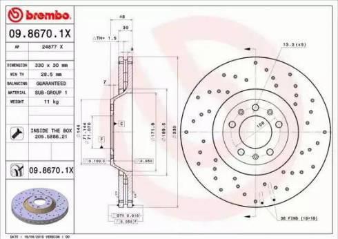 Brembo 09.8670.1X - Bremžu diski interparts.lv