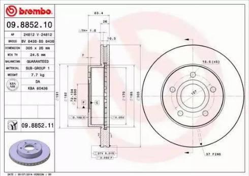 Brembo 09.8852.11 - Bremžu diski interparts.lv