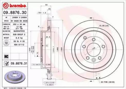 Brembo 09.8876.31 - Bremžu diski interparts.lv
