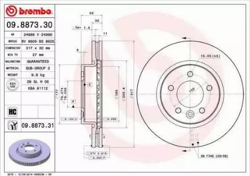 Brembo 09.8873.31 - Bremžu diski interparts.lv