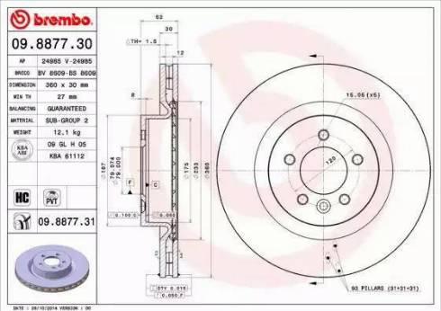 Brembo 09.8877.31 - Bremžu diski interparts.lv