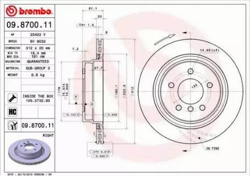 Brembo 09.8700.11 - Bremžu diski interparts.lv