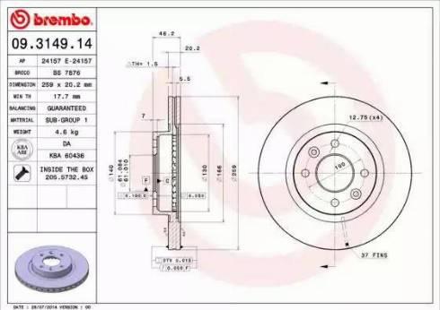 Brembo 09.3149.14 - Bremžu diski interparts.lv