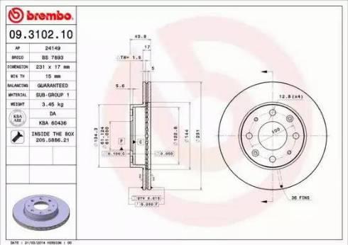Brembo 09.3102.10 - Bremžu diski interparts.lv