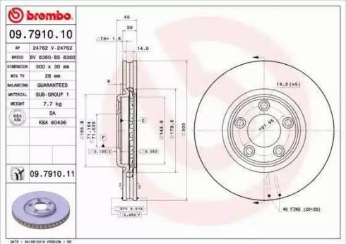 Brembo 09.7910.11 - Bremžu diski interparts.lv