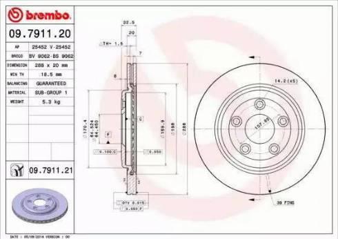 Brembo 09.7911.21 - Bremžu diski interparts.lv