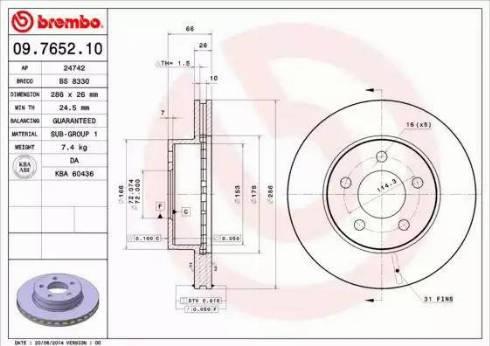 Brembo 09.7652.10 - Bremžu diski interparts.lv