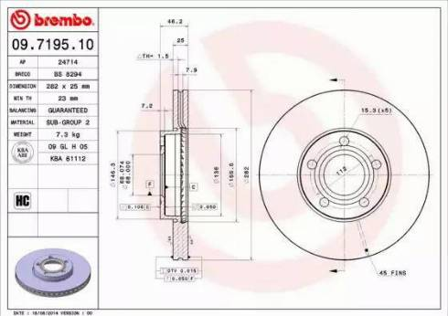 Brembo 09.7195.10 - Bremžu diski interparts.lv