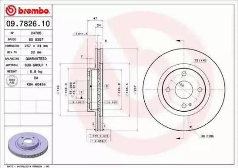 Brembo 09.7826.10 - Bremžu diski interparts.lv