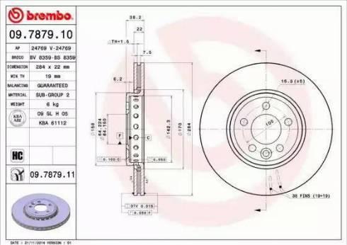 Brembo 09.7879.11 - Bremžu diski interparts.lv