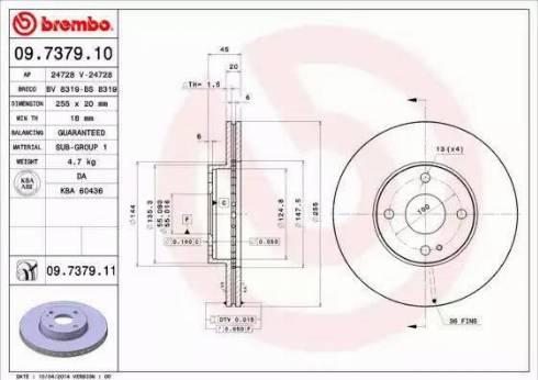 Brembo 09.7379.11 - Bremžu diski interparts.lv