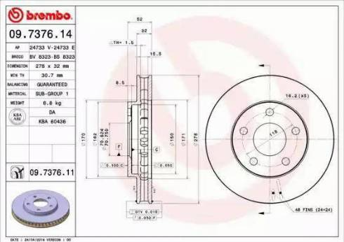 Brembo 09.7376.11 - Bremžu diski interparts.lv