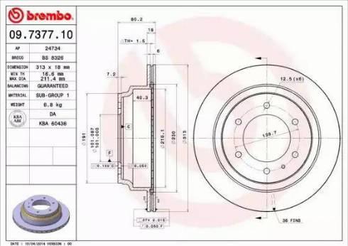 Brembo 09.7377.10 - Bremžu diski interparts.lv