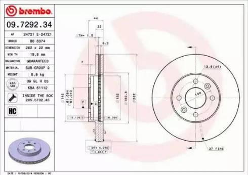 Brembo 09.7292.34 - Bremžu diski interparts.lv