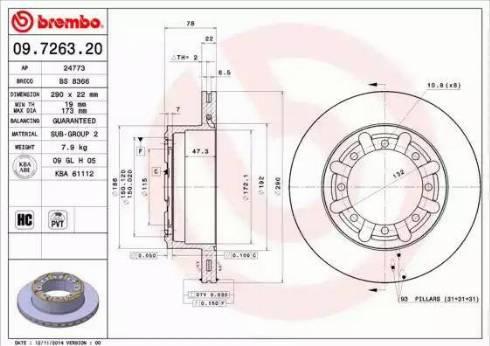 Brembo 09.7263.20 - Bremžu diski interparts.lv