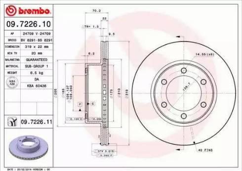 Brembo 09.7226.11 - Bremžu diski interparts.lv