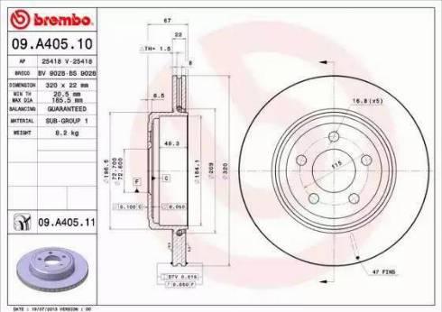 Brembo 09.A405.11 - Bremžu diski interparts.lv