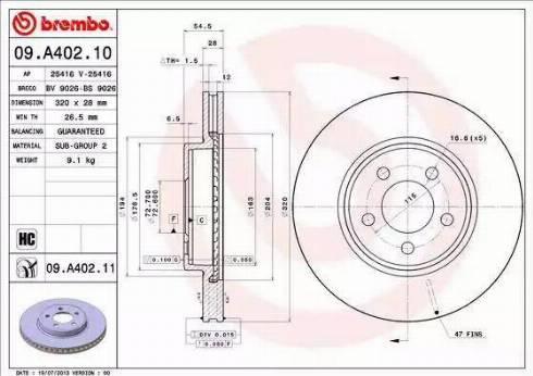 Brembo 09.A402.11 - Bremžu diski interparts.lv
