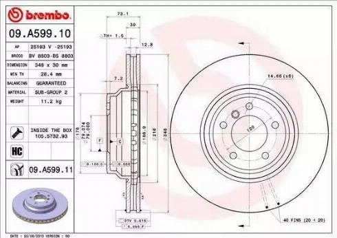 Brembo 09.A599.11 - Bremžu diski interparts.lv