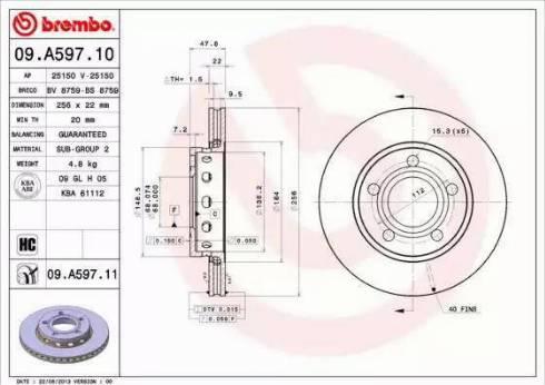 Brembo 09.A597.11 - Bremžu diski interparts.lv