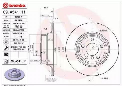 Brembo 09.A541.11 - Bremžu diski interparts.lv