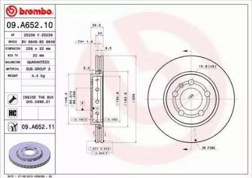 Brembo 09.A652.11 - Bremžu diski interparts.lv