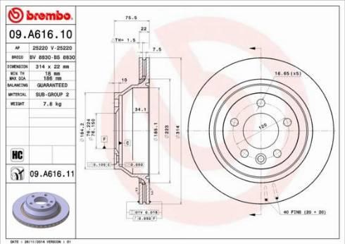 Brembo 09.A616.11 - Bremžu diski interparts.lv