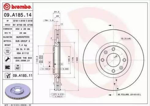 Brembo 09.A185.11 - Bremžu diski interparts.lv