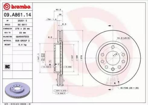 Brembo 09.A861.14 - Bremžu diski interparts.lv