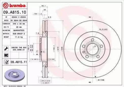 Brembo 09.A815.11 - Bremžu diski interparts.lv