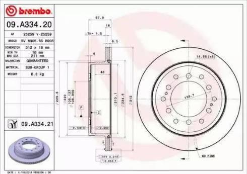 Brembo 09.A334.21 - Bremžu diski interparts.lv