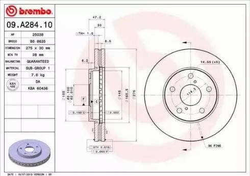 Brembo 09.A284.10 - Bremžu diski interparts.lv