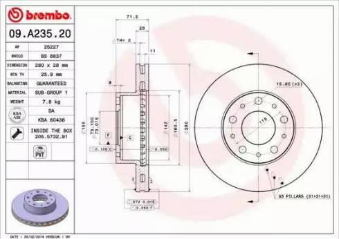 Brembo 09.A235.20 - Bremžu diski interparts.lv