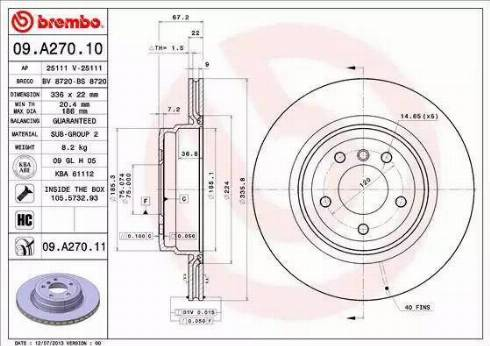 Brembo 09.A270.11 - Bremžu diski interparts.lv