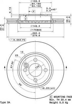 Brembo 09.A761.11 - Bremžu diski interparts.lv
