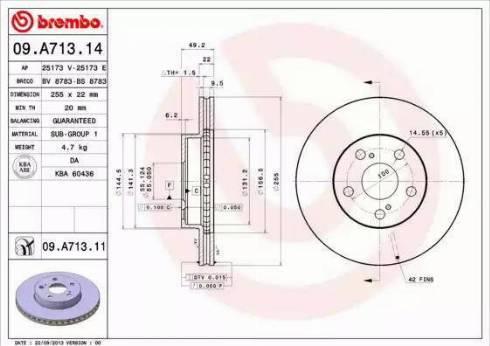 Brembo 09.A713.11 - Bremžu diski interparts.lv