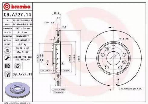 Brembo 09.A727.11 - Bremžu diski interparts.lv