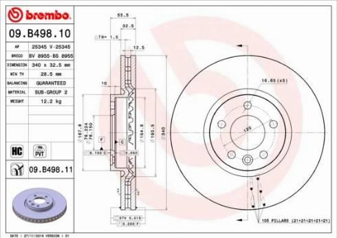 Brembo 09.B498.11 - Bremžu diski interparts.lv