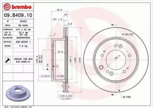 Brembo 09.B409.10 - Bremžu diski interparts.lv
