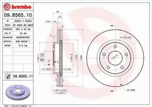 Brembo 09.B565.11 - Bremžu diski interparts.lv