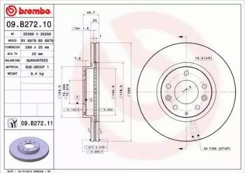 Brembo 09.B272.10 - Bremžu diski interparts.lv