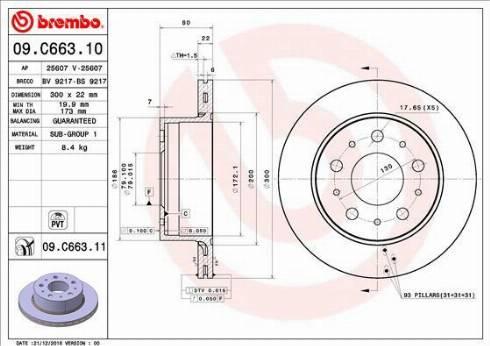 Brembo 09.C663.11 - Bremžu diski interparts.lv