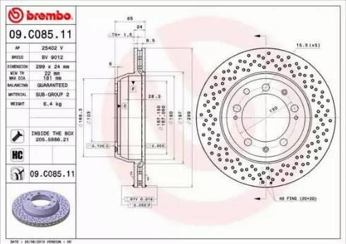 Brembo 09.C085.11 - Bremžu diski interparts.lv
