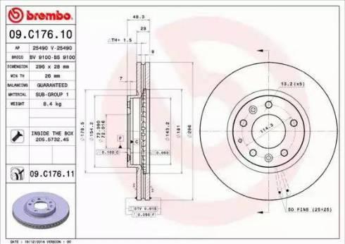 Brembo 09.C176.11 - Bremžu diski interparts.lv